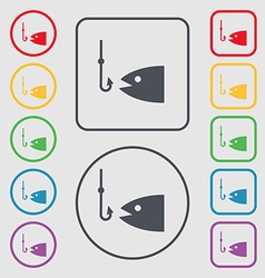 Fishing icon sign symbol on the round and square vector
