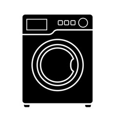 Flat black washing machine icon vector