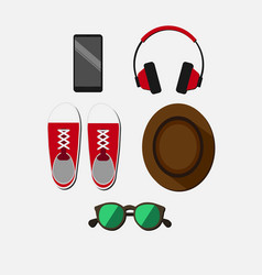 Flat colorful young person items set vector