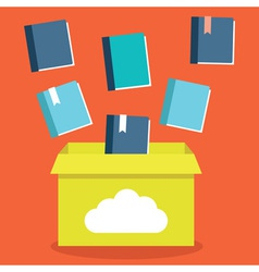 Flat of e-books storage in cloud vector image