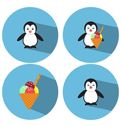 Flat Penguin Ice Cream vector
