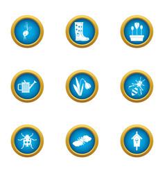 flowerpot icons set flat style vector image