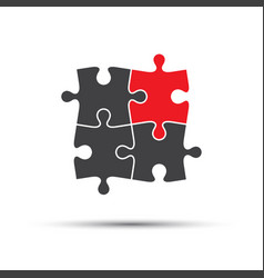 four puzzle pieces one red and three gray vector image
