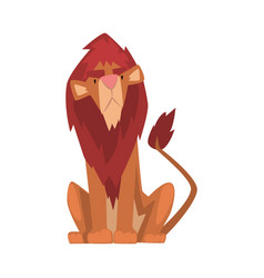 Funny lion mammal jungle animal character front vector