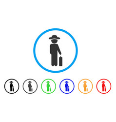 gentleman baggage rounded icon vector image
