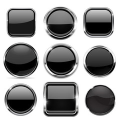 glass 3d buttons set black round and square icons vector image