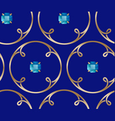 Golden rings loops and blue gem stones seamless vector