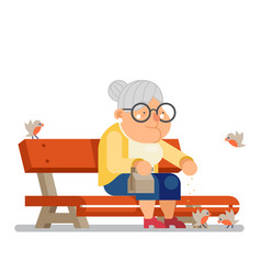 Grandmother feeding birds on outdoor park bench vector