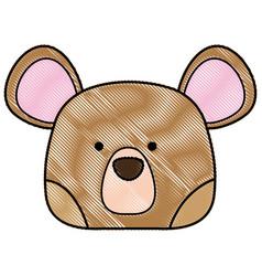 Grated cute bear head wild animal vector