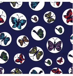 Hand drawn multi colored butterflies arranged in vector