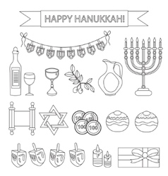 Hanukkah set line icons Chanukah line Icons with vector