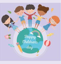 happy children day boys and girls around world vector image