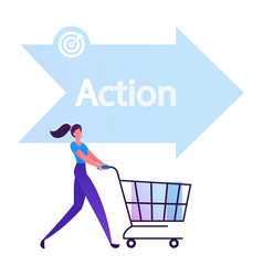 Happy woman buyer pushing shopping cart front of vector