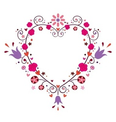 heart frame with flowers vector image