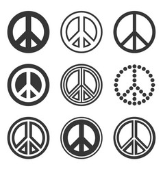 Hippie peace signs set on white background vector