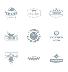Ingredient for cooking logo set simple style vector
