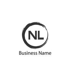 initial letter nl logo template design vector image