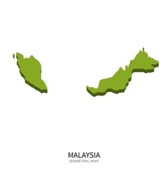 Isometric map of Malaysia detailed vector