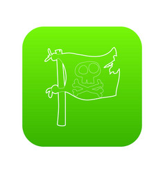 Jolly roger icon green vector