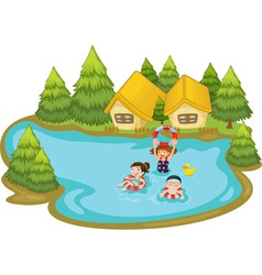 Kids swimming vector