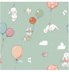 little hares fly with balloon seamless vector image