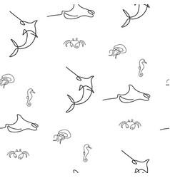 Marine inhabitant pattern seamless vector