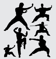 martial art and kungfu silhouette vector image
