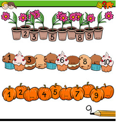 Mathematical counting activity for preschool kids vector
