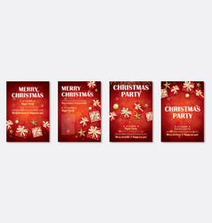 Merry christmas party and gift box for flyer vector