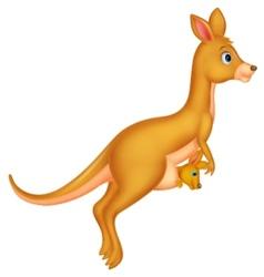Mother and baby kangaroo cartoon vector image