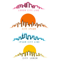 neon city skyline building contours vector image