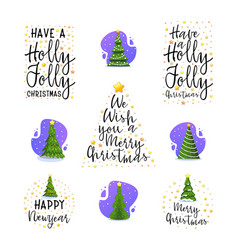 New year and christmas tree slogans modern flat vector