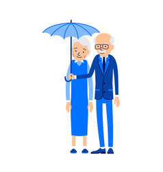 old couple under umbrella an elderly man stands vector image