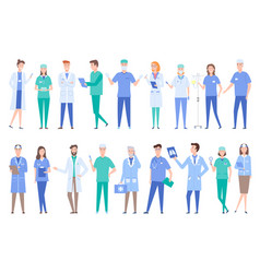 people working as doctors wearing gowns uniforms vector image