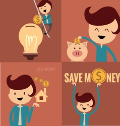 Piggy bank concept money savings set vector