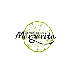 restaurant template with lime margarita sign vector image