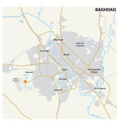 road map iraqi capital baghdad vector image