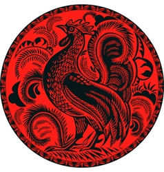 rooster in a circle with pattern vector image