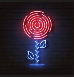 rose neon logo party night club vector image