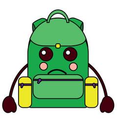 Sad backpack school supplies kawaii icon imag vector