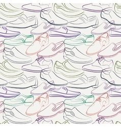 Seamless pattern variety men s shoes vector