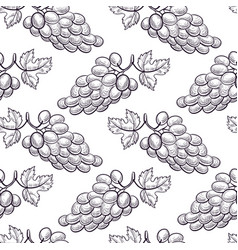 Seamless pattern with drawing grapes vector