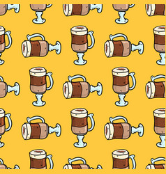seamless pattern with hand drawn doodle cups of vector image