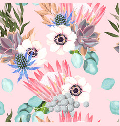 seamless pattern with protea and roses vector image