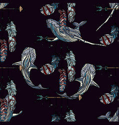 Seamless pattern with whales and dreamcatcher vector