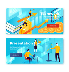 set bright banner templates with teamwork vector image