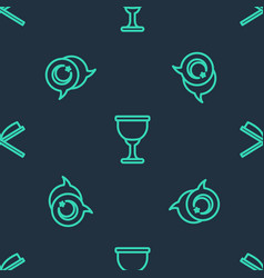set line holy grail or chalice star and crescent vector image