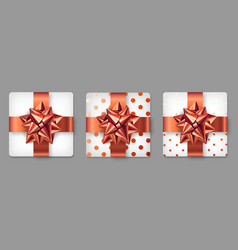 Set of red gifts box vector