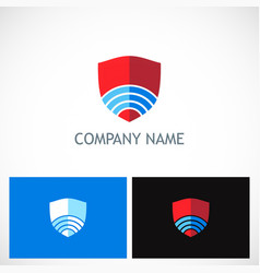 shield technology company logo vector image