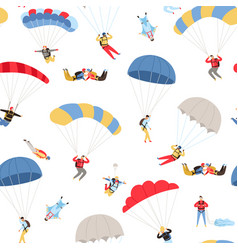 skydivers seamless pattern vector image